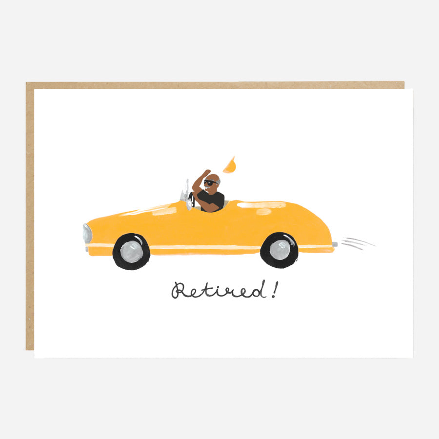 Yellow Car Retirement Card