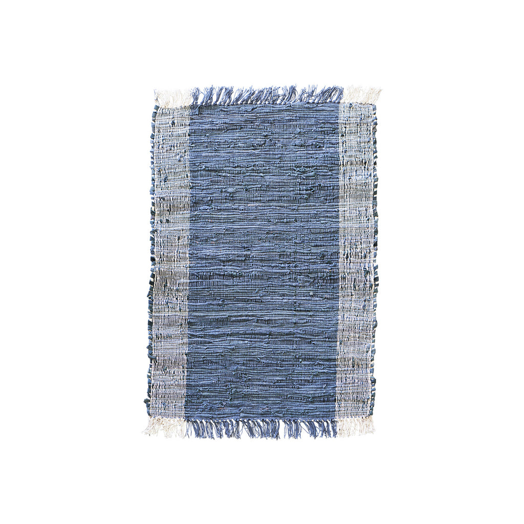 Small Leather and Cotton Woven Rug - 90 CM x 60 CM