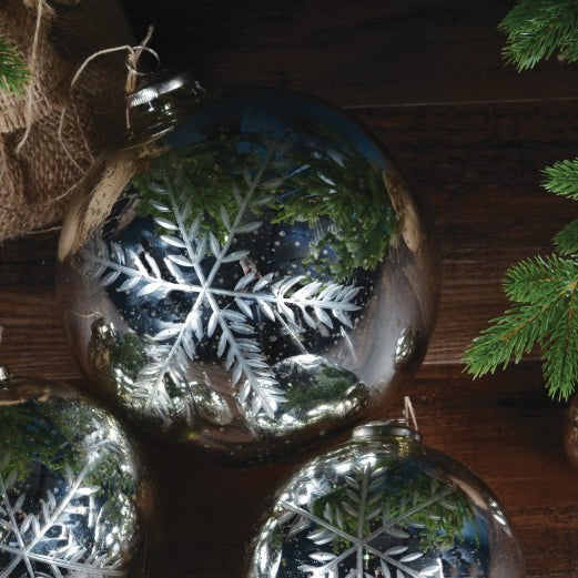 Extra Large Etched Snowflake Decoration Bauble - Silver