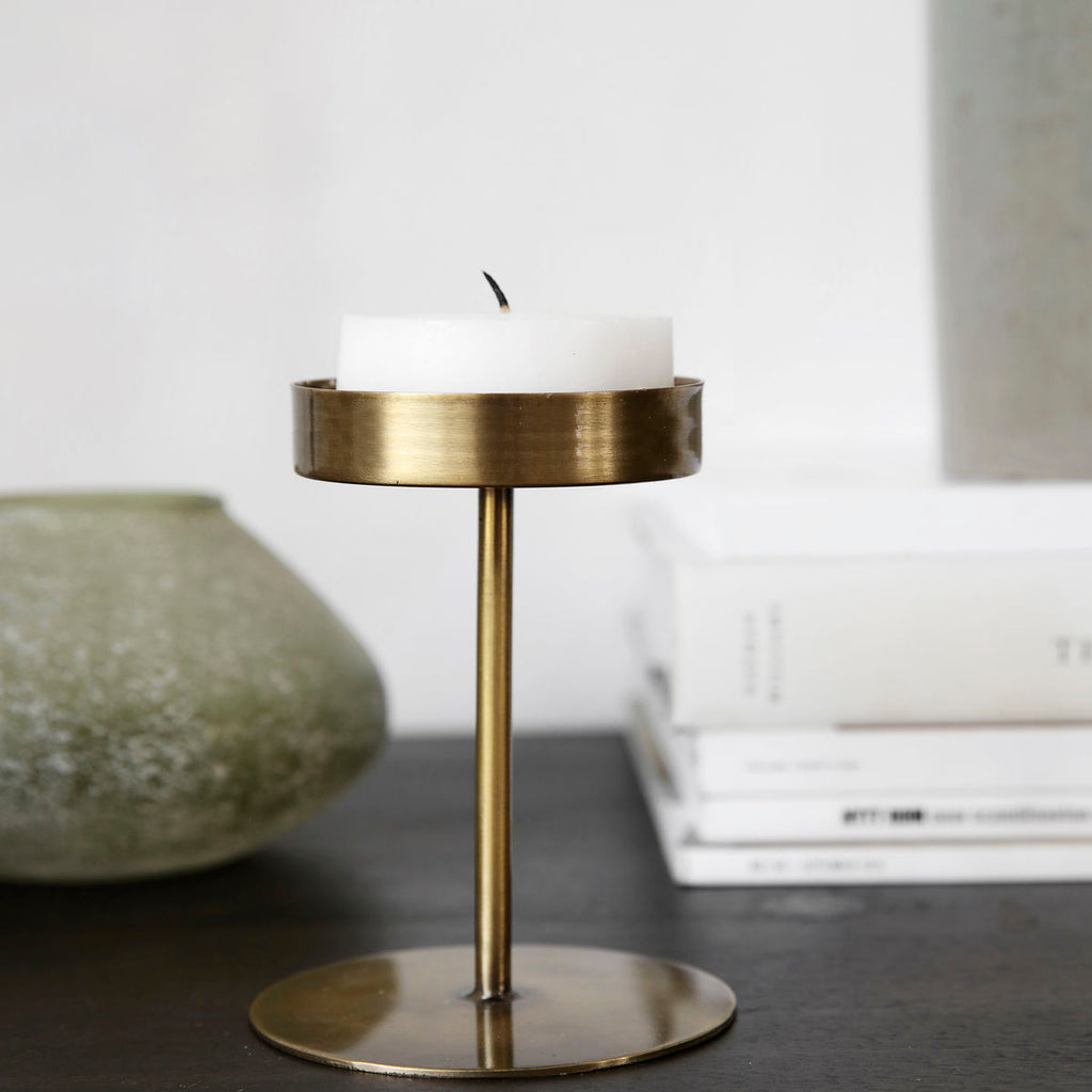 Anit Tea Light Candle Stand - Short Antique Brass
