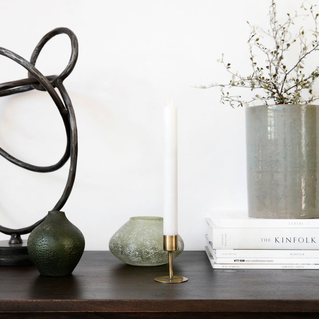 Anit Dinner Candle Stand - Antique Brass
