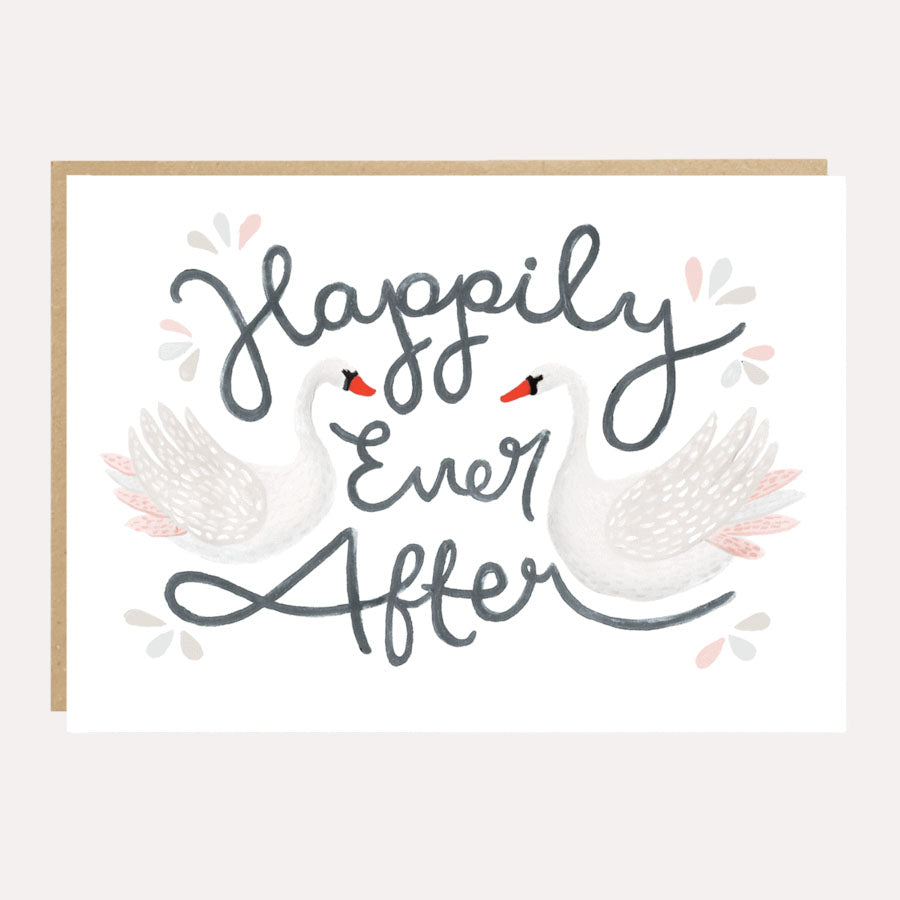 ** Happily Ever After Swan Wedding Card