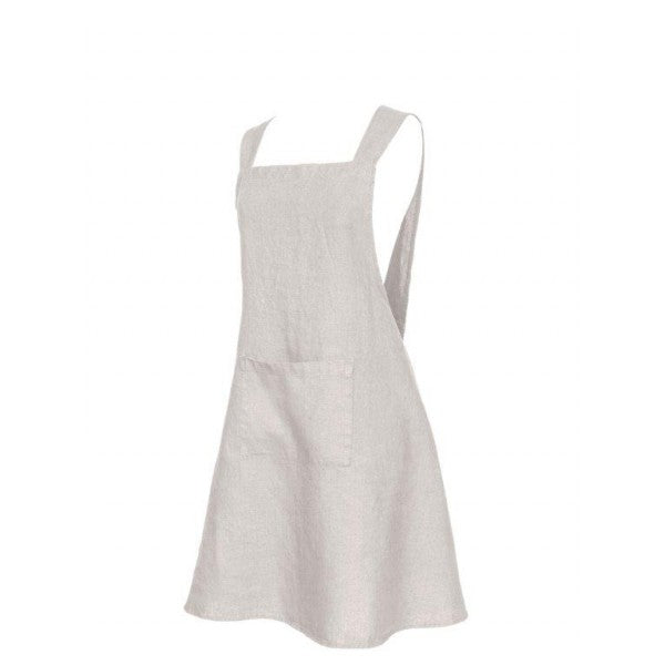 Washed Linen Japanese Style Apron - Natural