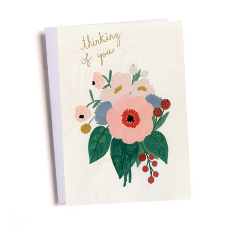 Thinking of You Pink Flowers Greetings Card