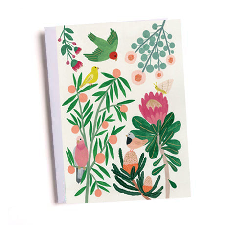 Tropical Birds and Flowers Greetings Card