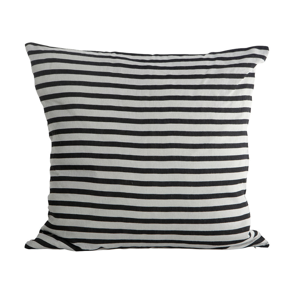Linen Cushion Cover - Black and Grey Stripe