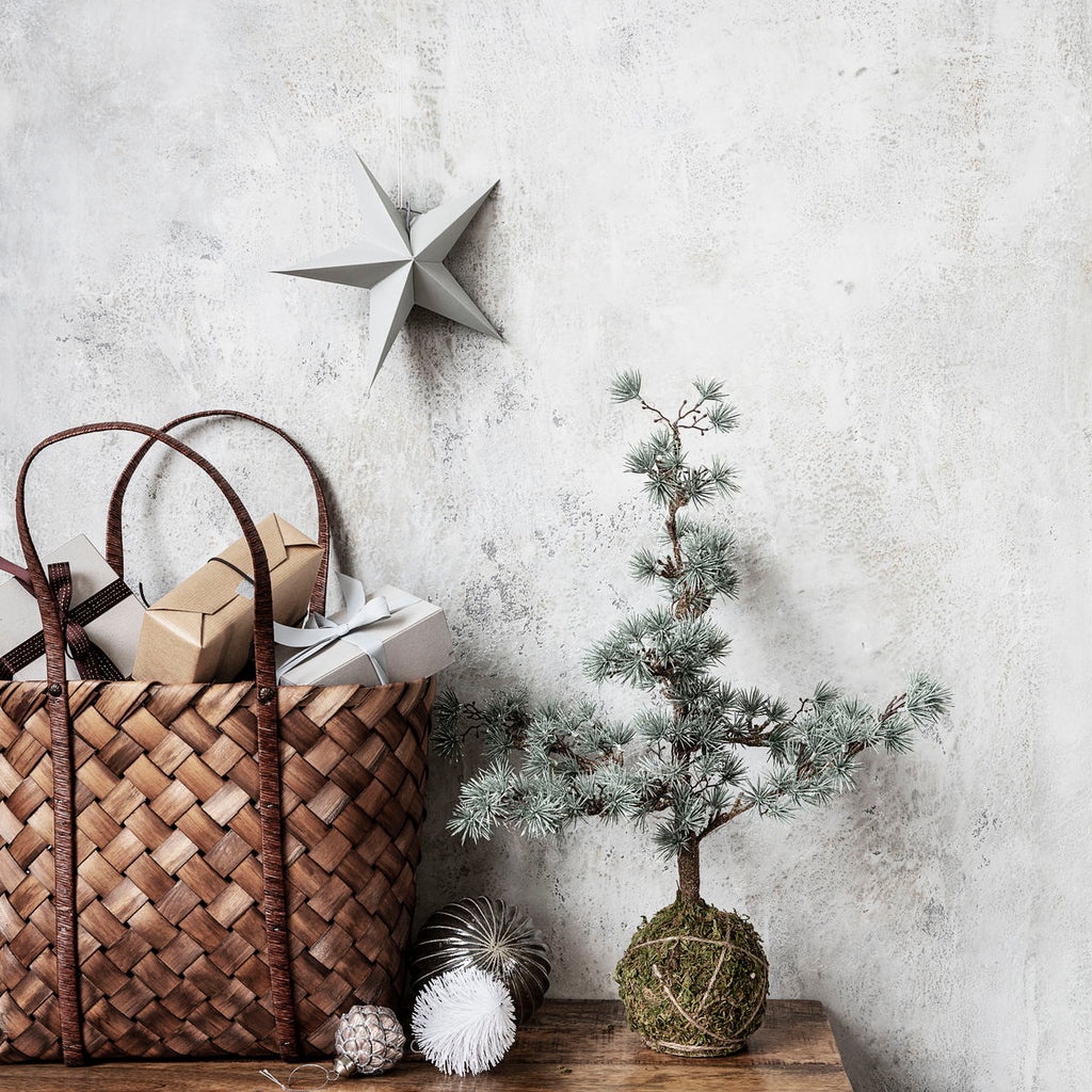 Large Grey Paper Star Ornaments, Pack of 2