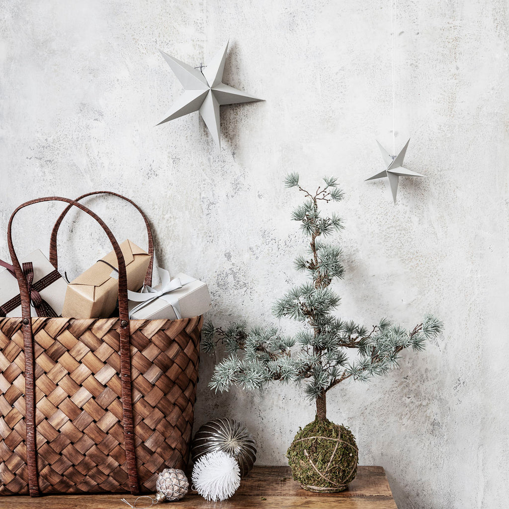 Grey Paper Star Ornaments, Pack of 3
