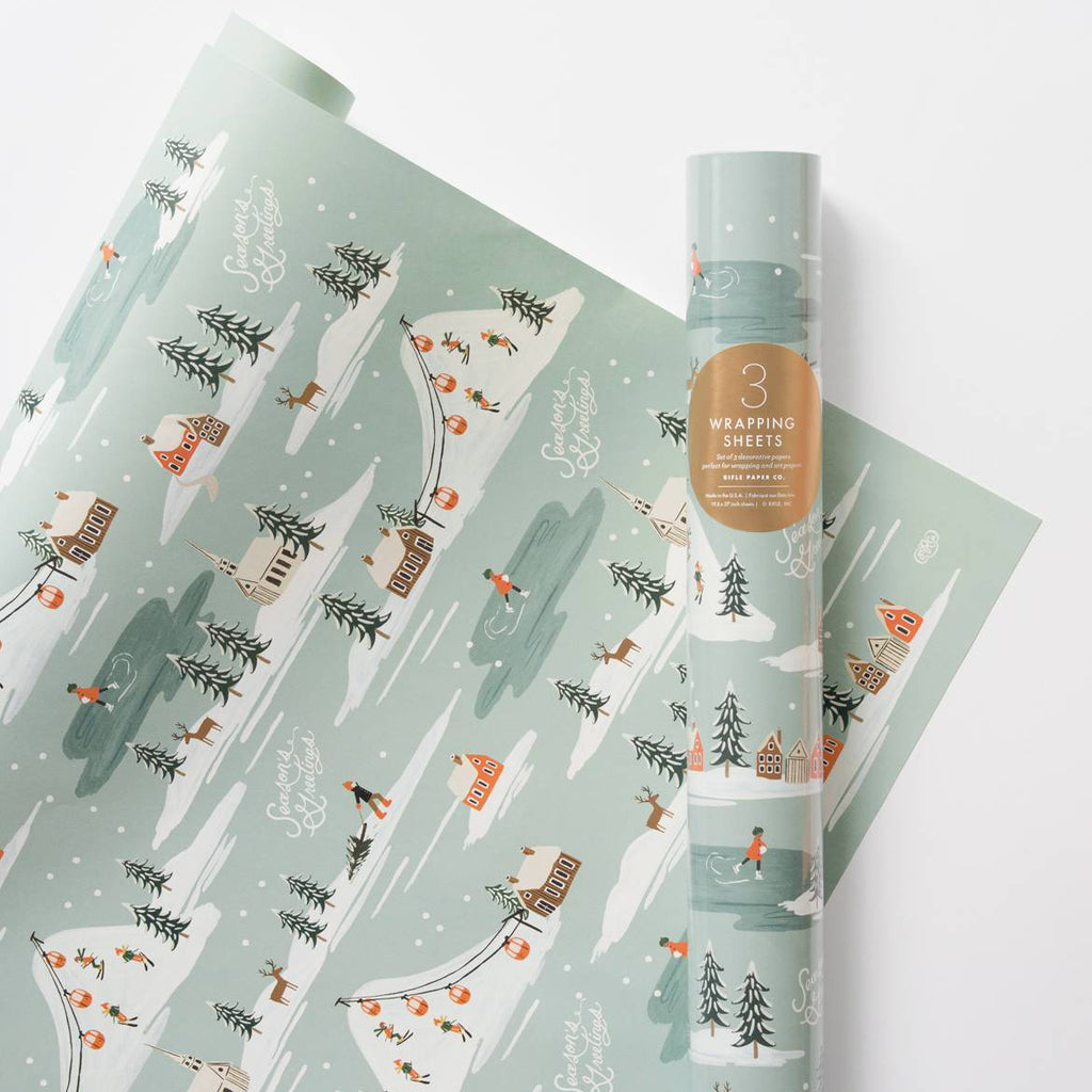 Holiday Snow Scene - Three Christmas Wrapping Paper Sheets from Rifle Paper Co.