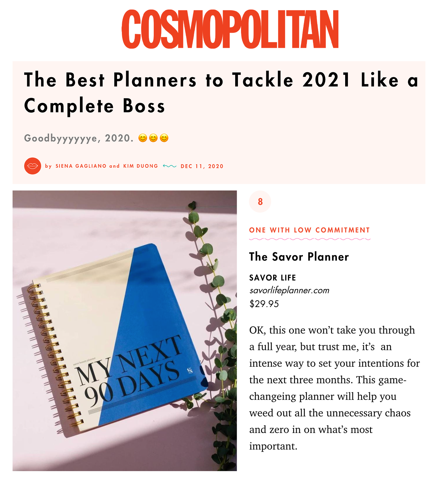 Cosmopolitan: The Best Planners to Tackle 2021