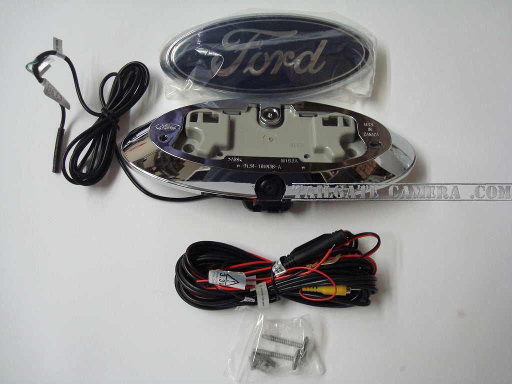 Ford F-Series truck  F150, F250, F350 backup camera with Night Vision Technology - OEM Ford Bezel, replaces factory tailgate emblem