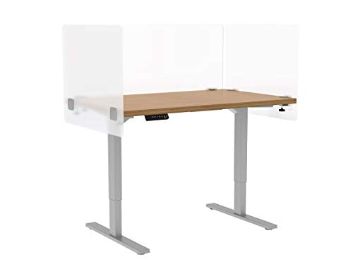 "VaRoom Privacy Partition, Frosted Acrylic Clamp-on Desk Divider - 60"" W x 24""H Privacy Desk Mounted Cubicle Panel"
