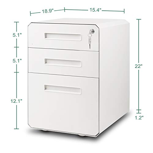 M&W 3 Drawer Mobile File Cabinet, Metal Locking Letter Filing Cabinet