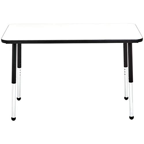 AmazonBasics Dry-Erase 24 x 48 Inch Rectangular School Activity Kids Table, Ball Glide Legs, Adjustable Height 19-30 Inch, Black