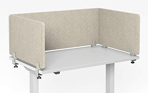 "VaRoom Acoustic Desktop Privacy Divider, 48""W x 18""H Sound Absorbing Clamp-on Cubicle Desk Divider Partition Panel in Tan Tackable Fabric"