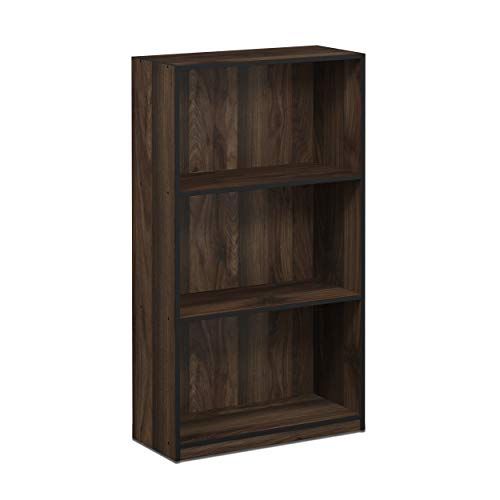 FURINNO 99736CWN Basic 3-Tier Bookcase Storage Shelves, Columbia Walnut