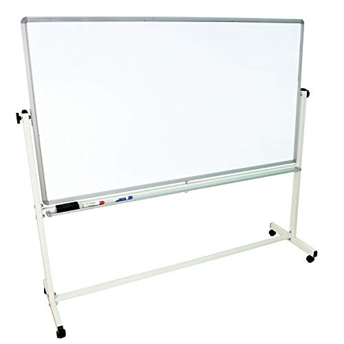 "Offex Mobile Magnetic Large Whiteboard on Wheels, Free Standing Double-Sided Dry Erase White Board for Teachers, Students, Children, Classroom, Office - 72""W x 40""H"