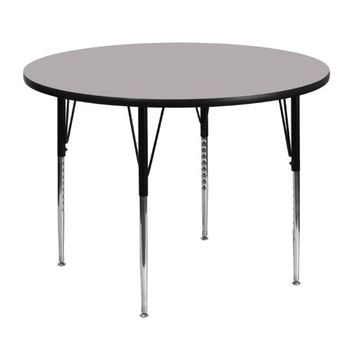 Flash Furniture 48'' Round Grey Thermal Laminate Activity Table - Standard Height Adjustable Legs