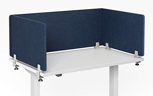 "VaRoom Acoustic Desktop Privacy Divider, 60""W x 18""H Sound Absorbing Clamp-on Cubicle Desk Partition Panel in Dark Blue Tackable Fabric"