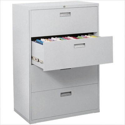"Sandusky Lee LF8F424-09 800 Series 4 Drawer Lateral File Cabinet, 19.25"" Depth x 53.25"" Height x 42"" Width, Black"