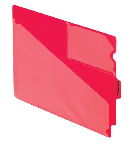 Pendaflex 13541 End Tab Vinyl Outguides w/Center Tab Printed Out, Letter Size, Red, 50/box