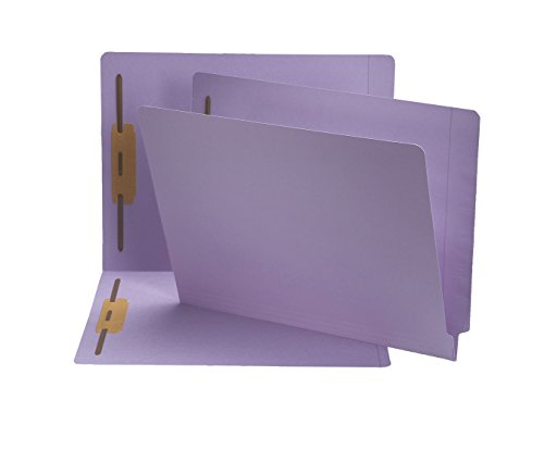 Smead End Tab Fastener File Folder, Shelf-Master Reinforced Straight-Cut Tab, 2 Fasteners, Letter Size, Lavender, 50 per Box (25540)