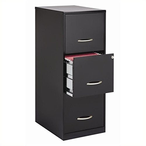 Cooper 3 Drawer Letter File Cabinet in Black