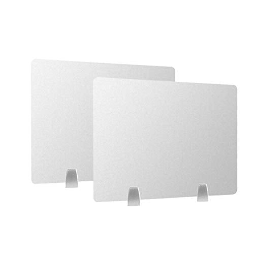 "Owfeel 2pc Frosted Desk Dividers Office Partition Desktop Privacy Panel with 4pcs Desk Partition Clips for Student Call Centers/Offices/ibraries/Classrooms Frosted Acrylic Clamp (20"" L×16"" W)"