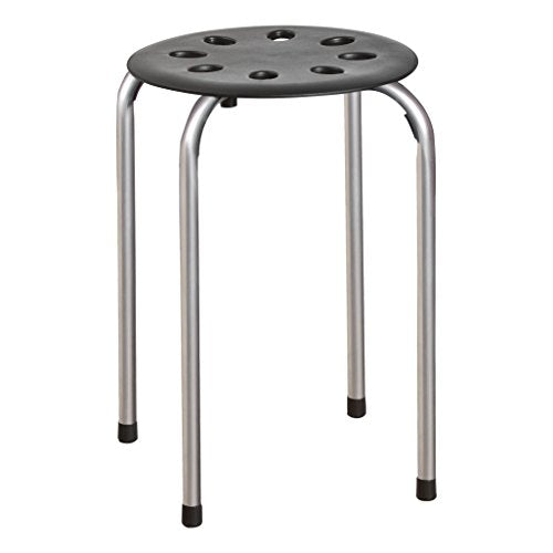 Norwood Commercial Furniture NOR-STOOLBS-SO Plastic Stack Stools, Black & Grey, Pack of 5