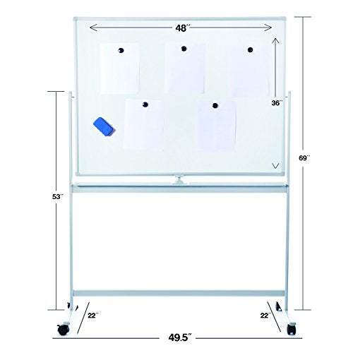 Large Rolling Whiteboard with Stand | Easy Clean 48x36 Flip-Over Dry Erase Board on Wheels. Double Sided Magnetic Portable Writing Board with Magnets and Eraser for Office, Classroom, or Home Use