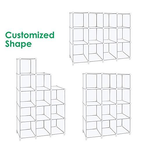 TomCare Cube Storage 12-Cube Book Shelf Storage Shelves Closet Organizer Shelf Cubes Organizer Plastic Bookshelf Bookcase DIY Square Closet Cabinet Shelves for Bedroom Office Living Room, White
