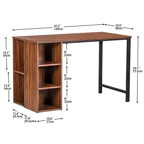 IRONCK Writing-Computer Desk with Storage, Large Work Desk with 5 Shelves Students-Study Desk Home-Office PC Laptop Study Table ,Retro red