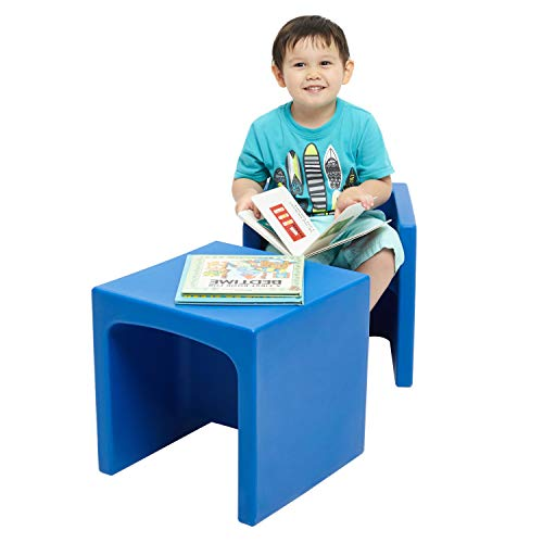 ECR4Kids Tri-Me 3-in-1 Cube Chair, Portable Indoor/Outdoor Play Seat or Table for Kids and Toddlers, Blue