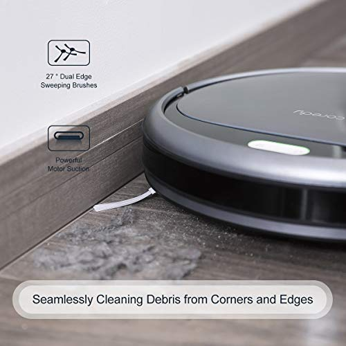 Coredy Robot Vacuum Cleaner, 1400Pa Super-Strong Suction, Ultra Slim, Automatic Self-Charging Robotic Vacuum for Cleaning Hardwood Floors, Medium-Pile Carpets, Filter for Pet, Easy Schedule Cleaning