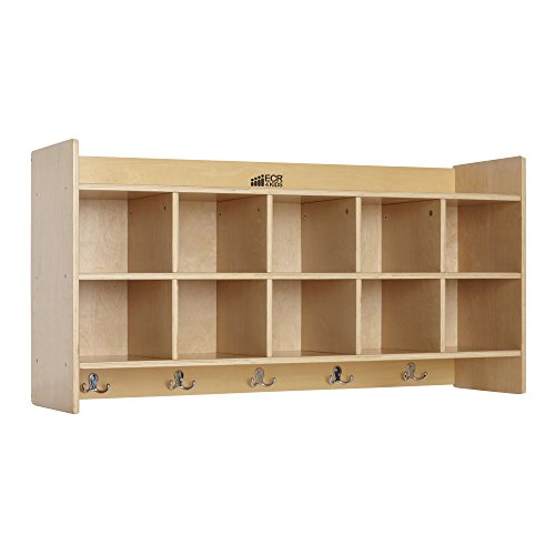 ECR4Kids Birch Wood 10-Section Hanging Coat Locker with Shelf