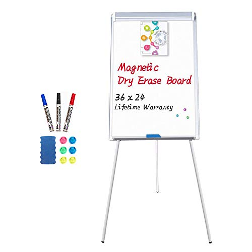 Easel White Board - Magnetic Tripod Whiteboard Portable Dry Erase Board 36x24 inches Flipchart Easel Board Height Adjustable, Stand White Board
