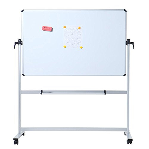 VIZ-PRO Double-Sided Magnetic Mobile Whiteboard,72 x 40 Inches Aluminium Frame and Stand