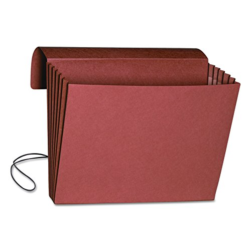 "Smead Expanding File Wallet with Flap and Cord Closure, 5-1/4"" Expansion, Fully-Lined Tear Resistant Gusset, Legal Size, Redrope, 10 per Box (71111)"