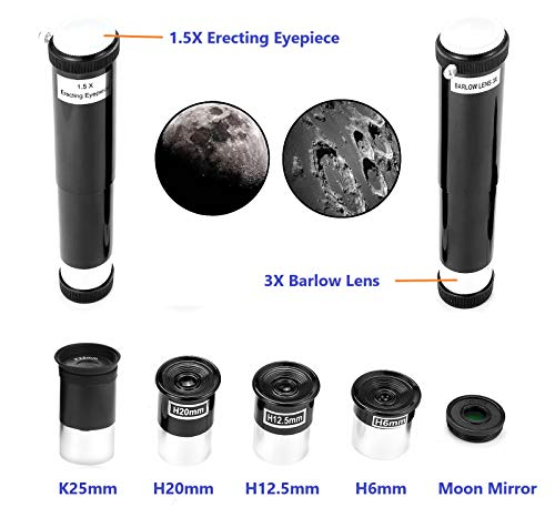 MaxUSee 70mm Refractor Telescope with Tripod & Finder Scope, Portable Telescope for Kids & Astronomy Beginners, Travel Scope with 3 Magnification eyepieces & Moon Mirror Blue