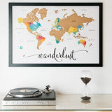 "Scratch Off Map of The World | Deluxe Watercolor Wanderlust Edition | XL Size 24""x 36"" 