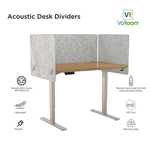"VaRoom Acoustic Partition, Sound Absorbing Desk Divider - 24"" W x 24""H Privacy Desk Mounted Cubicle Panel, Iced Grey"