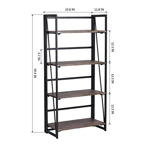 Coavas No-Assembly Folding-Bookshelf Storage Shelves 4 Tiers Bookcase Home Office Cabinet Industrial Standing Racks Study Organizer 23.6 X 11.8 X 49.4 Inches