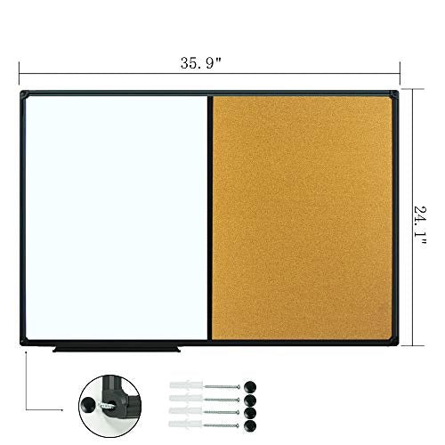 JILoffice White Board & Bulletin Corkboard Combination, Combo Board 36 x 24 Magnetic Whiteboard, Black Aluminium Frame Wall Mounted Board for Office Home and School with 10 Push Pins