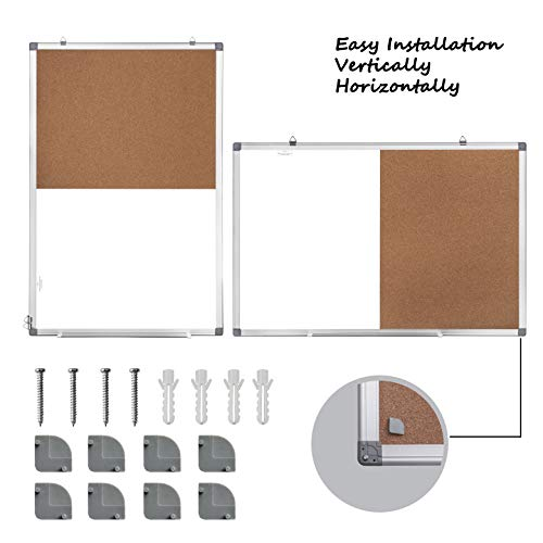 36 x 24 Magnetic Whiteboard and Cork Board Combination Board, Dry Erase Board Bulletin Combo Board for Home Office, Wall Mounted Memo Message Board with Dry Erase Markers, Eraser, Magnets, Push Pin