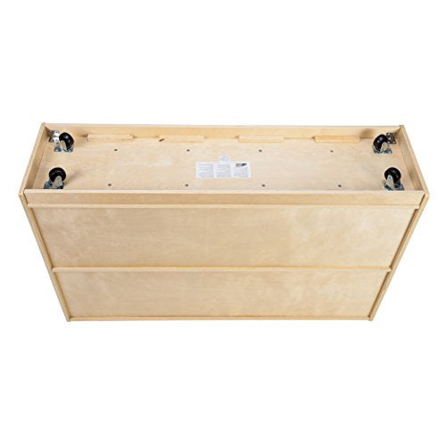 ECR4Kids Birch 20 Cubbie Tray Cabinet with Scoop Front Bins, Clear