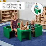 ECR4Kids Tri-Me 3-in-1 Cube Chair, Portable Indoor/Outdoor Play Seat or Table for Kids and Toddlers, Green