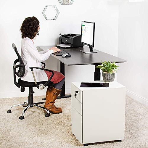 Locking File Cabinet Rolling Metal Filing Cabinet 3 Drawer Fully Assembled Office Pedestal Files Except Wheel(White C)