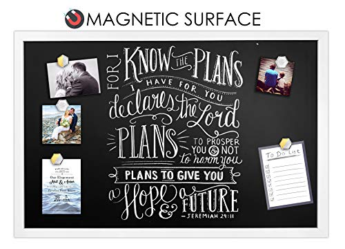"White Framed Premium Surface Magnetic Large Chalk Board- 24""x36"" by Loddie Doddie. Perfect for Chalk Markers and Home Decor"