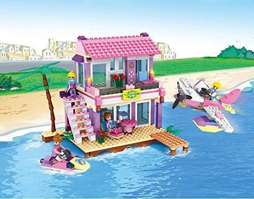 COGO Dream Girls Blocks Educational Toys Pink Beach House Friends Villa Building Blocks for Kids Construction Toys Building Bricks Play Set 423 Pcs 4515