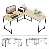 "Bestier 95.5"" Two Persons Computer Desk, Extra Large L Shaped or Long Desk Two Method, Simple Writing Desk with Free Monitor Stand, Double Workstation Table Build-in Cable Management for Home Office"